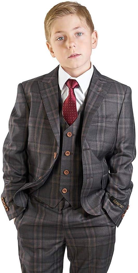 Boys Suit Tuxedo 5 Piece Set Windowpane Plaid Peak Lapel Vest Kids Dress Formal 35071