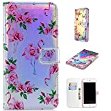 Ostop Leather Wallet Case for iPhone 8,iPhone 7 Case,Credit Card Slots Holster with Flamingo Floral Pattern Stand Holder PU Dual Layer Protective Shell Magnetic Colorful Flip Cover