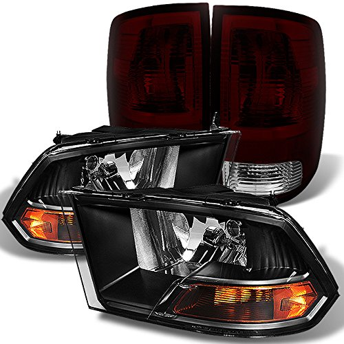 For Dodge Pickup 2009-2018 Ram 1500 | 2010-2018 2500/3500 Black Headlights + Dark Red Smoked Tail Lights 4pcs Combo