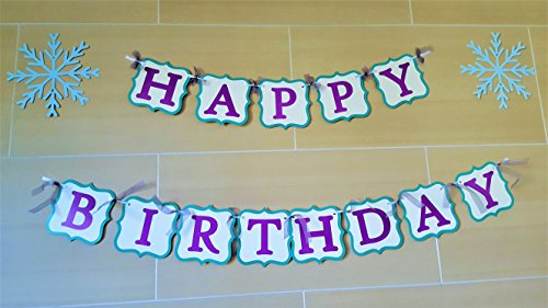 Happy Birthday Paper Banner - Disney Frozen Inspired, Premium Quality Cardstock Wall Hanging Banner For Kids' Birthday Party Decoration - Elsa and Anna Princess Themed (Banner Frozen)