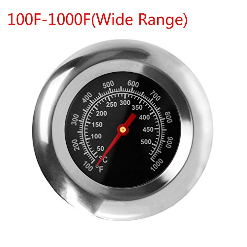"GASPRO 3"" Stainless Steel BBQ Charcoal Grill Pit Wood Smoker High Temperature Gauge Thermometer Replacement for Select Gas Grill Models by Cuisinart, Master Forge and Others -100F to 1000F"