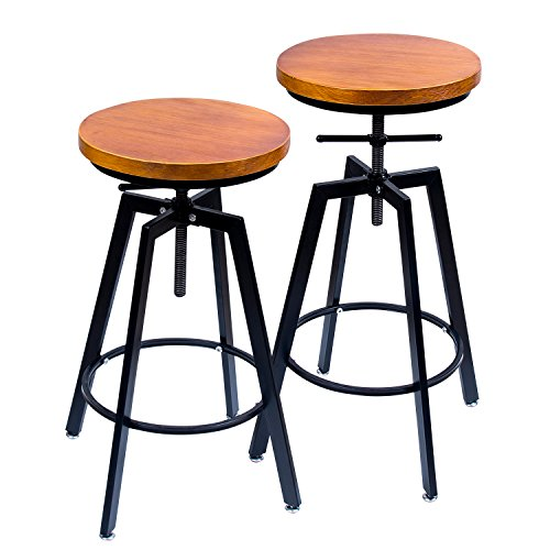 ANXITIEGONGYI Best Bar Stools, Bar Chairs for Pub Bistro Kitchen Coffee House Home, Swivel Round Wood Seat, Metal Base, Bar/Counter Height Adjustable, Set of 2, Black by ANXITIEGONGYI (Image #7)