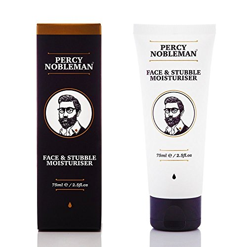 Face and Stubble Moisturizer by Percy Nobleman 75ml / 2.5fl.oz. A Moisturizing Facial Treatment Cream for Men. 98% Naturally Derived and Scented with Peppermint & - Cucumber Moisturizing