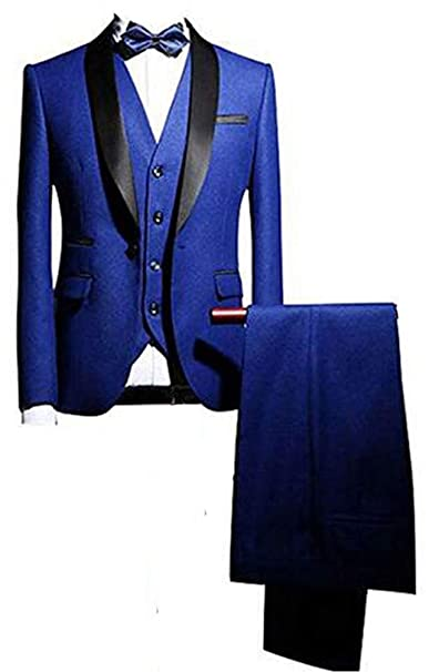 Amazon.com: Para hombre Azul Real chal solapa 3pc trajes de ...