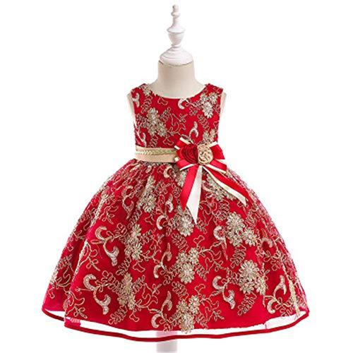 Alden Dress Belt - Flower Woven Belt Cotton Princess Dress Gold Silk Embroidery Girl Wedding Dress(Red,150cm)