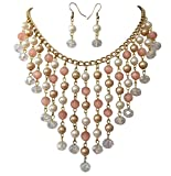Cascading Peach and Ivory Simulated Pearl AB Glass Beaded Gold Tone Necklace Earring Set