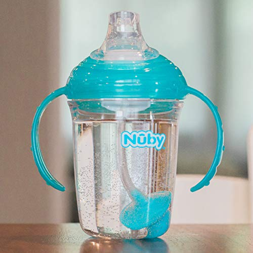 Nuby No Spill 360 Weighted Straw Grip N' Sip Tritan Cup with Hygienic Cover, 8 Oz, Trainer Cup, Teal