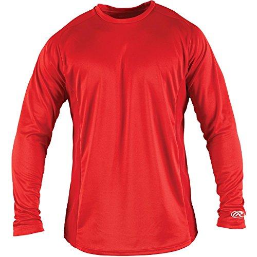 Kids Shirt Scarlet - Rawlings Boy's Long Sleeve Baselayer Shirt, Scarlet, Medium