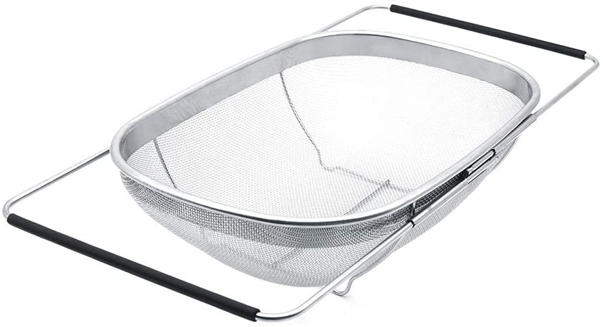Over the Sink Colander Strainer Basket with Rubber Grip, 6 Quart Stainless Steel Vegtable Fruit Colanders Strainers with Steady Base, Expandable Metal Strainer for Kitchen Sink