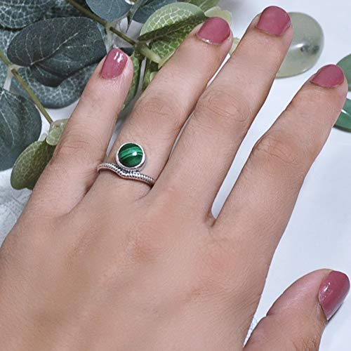 - Sivalya ENLIGHTENED Natural Malachite Ring in 925 Sterling Silver - Exquisite Handcrafted Ring in Solid Silver - Size 8