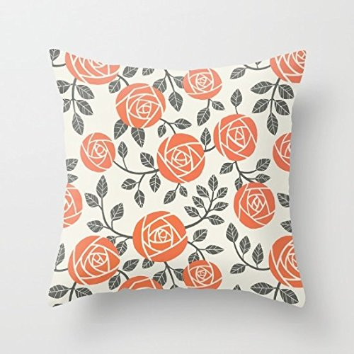 Decorative Pillow Case Retro Roses Pattern Cushion Cover 18