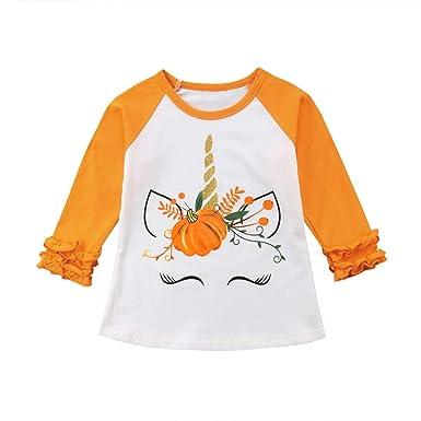 Wang-RX Moda Halloween Niños Bebé Niña Algodón Unicornio Calabaza ...