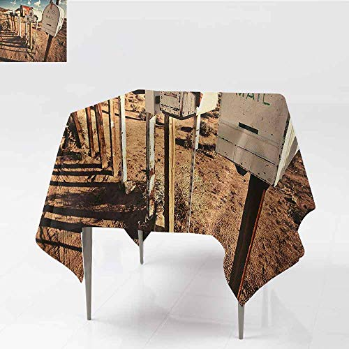 DILITECK Easy Care Tablecloth United States Old Mailboxes in West America Rural Rusty Landscape Grunge Countryside and Durable W54 xL54 Brown Blue White