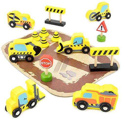 City Builders Wooden Construction Vehicles, 14-piece Play Set with Trucks, Barriers, Street Signs, and Play Board in Wood Tray by Imagination Generation Doug Stop Sign