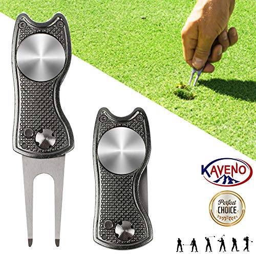 KAVENO Foldable Magnetic Golf Divot Repair Tool Pop-up Button Stainless Steel Switchblade & Detachable Golf Ball Marker (Grey Fish 1 Set)