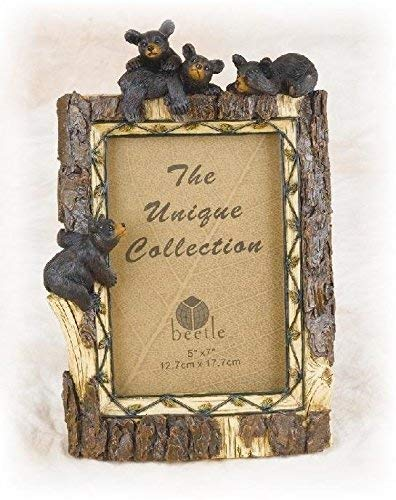 Photo Frame Wolf - 10.5 Inch Tree Trunk Design with Black Bear Family 5 x 7