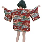 ZooBoo Women's Japanese Kimono Cardigan Harajuku Ancient Style Cardigan Pajamas Jacket Coat - One Size (Red)