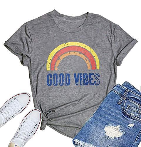 (MOMOER Good Vibes Shirt Women Short Sleeve Tshirt Vintage Rainbow Print Graphic Tees Tops)