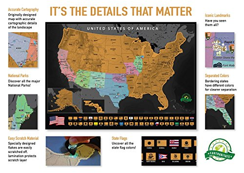 Scratch Off Map of The United States – Deluxe Travel Map with 50 State Flags and Landmarks - Tracks Where You Have been, Full Accessories Set Included, Perfect Gift for Travelers, by Earthabitats