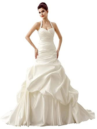 5e429603a912 Edith qi Women's Plus Size Halter Pleated Court Train Wedding Dresses for  Bride