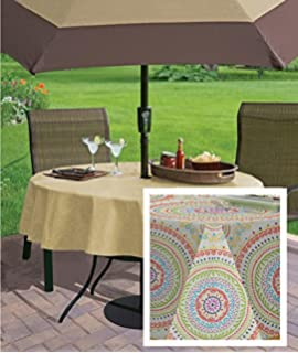 Awesome Circle Stitch Contemporary Print Indoor/Outdoor Soil Resistant Fabric  Tablecloth   70 Inch Round Oblong