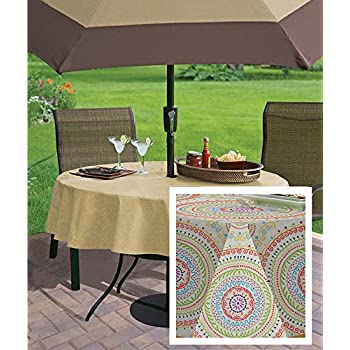 Circle Stitch Contemporary Print Indoor/Outdoor Soil Resistant Fabric  Tablecloth   60 X 84 Oblong