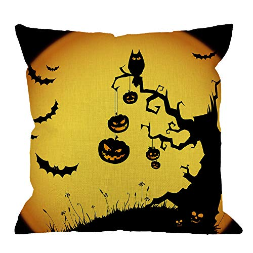 HGOD DESIGNS Halloween Throw Pillow Cushion Cover,Halloween Pumkin Tree and Bats Orange Cotton Linen Polyester Decorative Home Decor Sofa Couch Desk Chair Bedroom 18x18inch Pillow Case,Yellow
