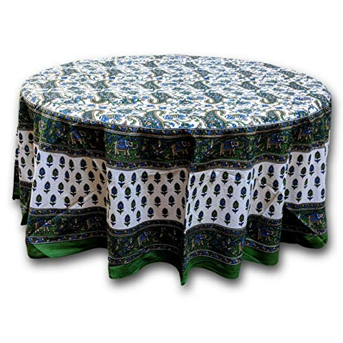 Mikash Cotton Elephant Print Floral Paisley Tablecloth Round 72 inches Green Blue | Model TBLCLTH - - Th Model Bronze