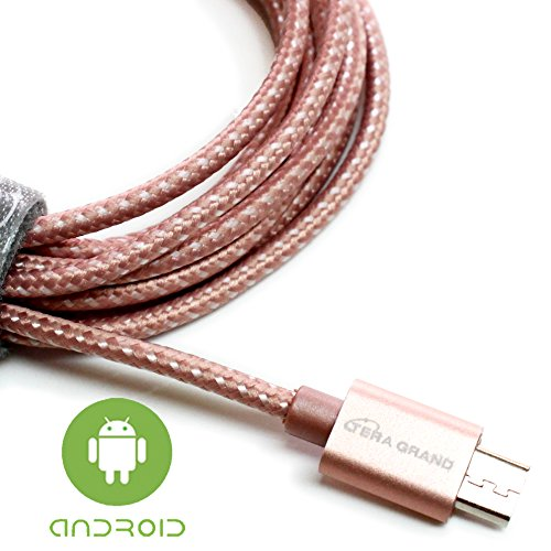 Tera Grand - USB 2.0 A to Micro USB Braided Cable, 6' Rose Gold - Micro USB / Micro B Charge and Sync Cord for Android Samsung Nokia Nexus Phones and More Not for iPhone & (Gold Venus Case)