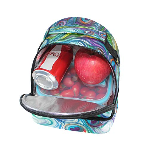 déjeuner réglable à de double Sac Cooler épaule Sangle coloré paon pour Plume nique pique qEvtwRx