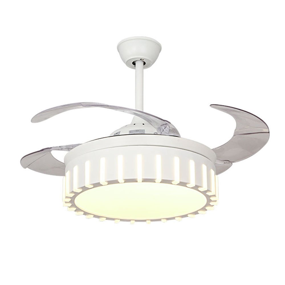 Ceiling fan light with remote control and 4 transparent retractable blades led chandelier indoor living room bedroom kitchen light fixtures ceiling fan
