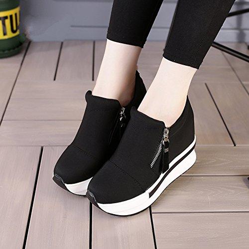 Slip Da Donna Antiscivolo Su Sneakers Con Zeppa Con Zeppa Nascosta Con Tacco Alto E Scarpe Nere