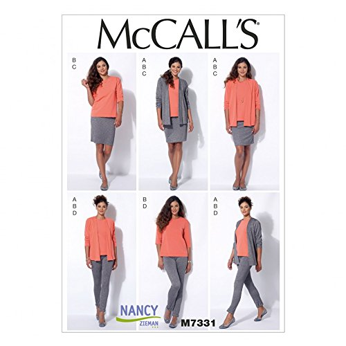McCalls Ladies Sewing Pattern 7331 Cardigan, T Shirt, Pencil Skirt & Leggings