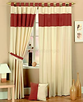 Red Curtains amazon red curtains : Red Cream Tab Top Lined Curtains 66x72: Amazon.co.uk: Kitchen & Home