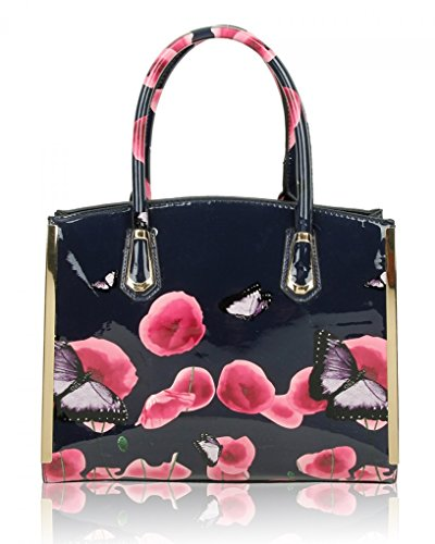 College Bluedepth School Women Shoulder Handbag Patent Women's Flower Work Tote Butterfly Faux Poppy Bags Leahward Leather Poppies For FZcHqcR