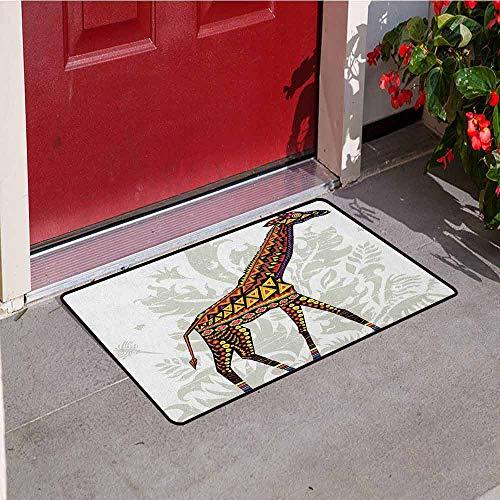 GloriaJohnson Batik Universal Door mat African Savannah Animal Giraffe with Ethnic Ornament Patterns on Body Creature Print Door mat Floor Decoration W31.5 x L47.2 Inch Multicolor