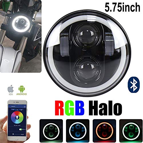 Harley Davidson Round Ring - PinPle Harley Motorcycle Light 5.75'' 50W LED Headlight far and Near Light RGB Vehicle Light Daymarker Projector App Controls USB Interface Bluetooth Multicolor Control (RGB Headlight)