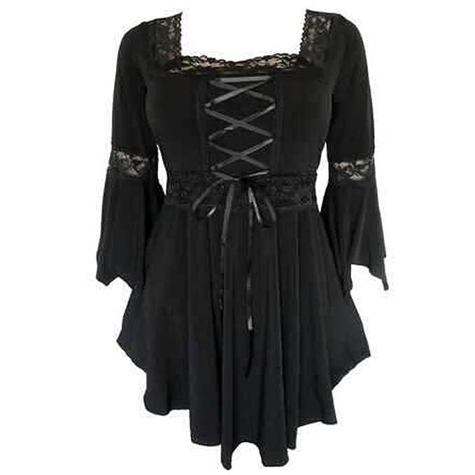 Blusa de estilo vintage para mujer, manga larga, camisa de encaje negro negro 34