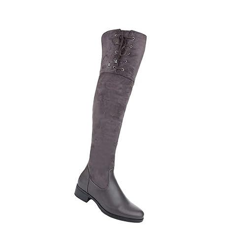 Damen Overknee Reißverschluss Stiefel Schuhe Mit Reißverschluss Overknee Schwarz Grau Beige 20e144