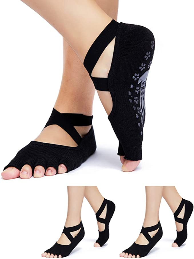 Amazon.com: Calcetines de yoga agarre antideslizante para ...