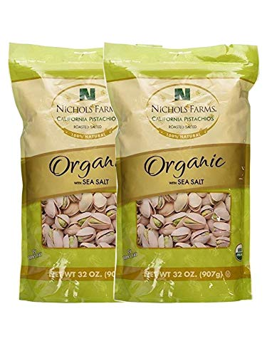 - Nichols Farms California Pistachios Roasted Salted, Organic with Sea Salt, 32-ounce bag (Pack of 2)