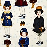 white Christmas fabric paper dolls Robert Kaufman (per 0.5m multiple)