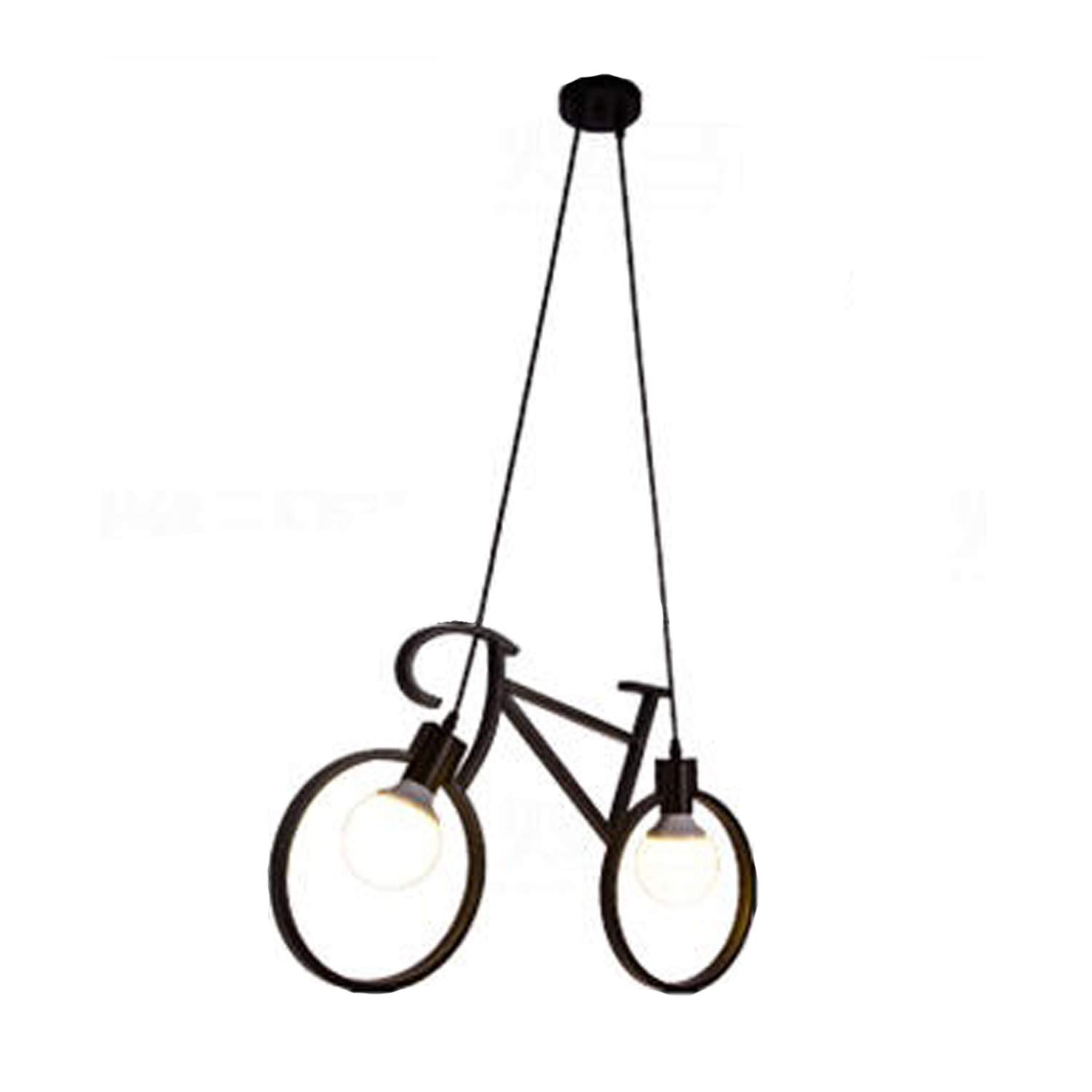 Injuicy Modern Bicycle Metal Iron Pendant Lights Shade E27 Edison Led Bike Ceiling Lamps Fixtures for Living Dining Children's Room Restaurant Clothing Store Cafe Shop Hallway Gift (Black)