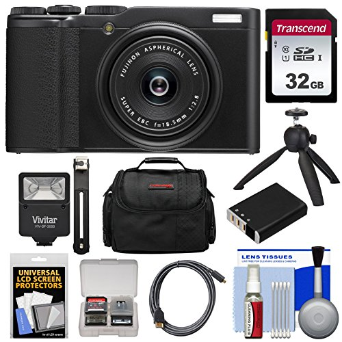 Fujifilm XF10 Digital Camera (Black) with 32GB Card + Battery + Flash + Tripod + Case + Kit