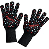 Menhoud BBQ Cooking Glove 932°F Extreme Heat Resistant oven gloves For Cooking, Grilling, Baking