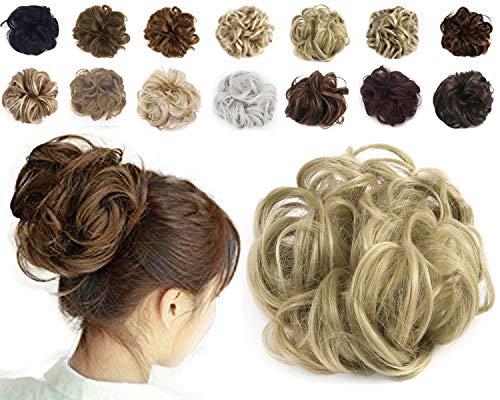 Haironline Scrunchie Bun up Do Hair Piece Hair Ribbon Ponytail Extensions Wavy Curly ASH Blonde 55 Gram