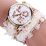 Elevin(TM) Fashion Women Lace Wrap Around Bracelet Crystal Synthetic Chain Analog Quartz Wrist Watch (White)