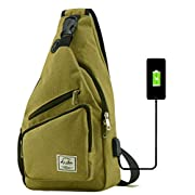 Sling Bag for Men Crossbody Shoulder Chest Bags Nylon for Travel Gym Sport Hiking with USB Charger Port (Grass Green)