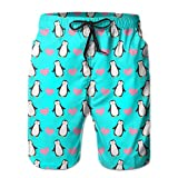 Cute Penguin Hearts Love Men's Surfing Quick Dry Beach Shorts XXL