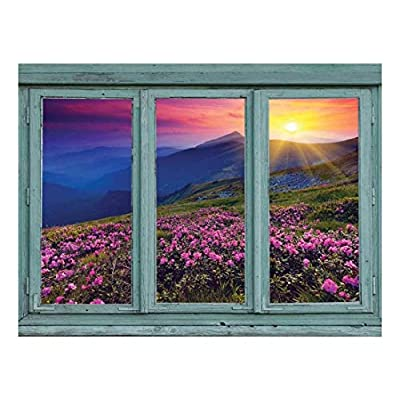 Unbelievable Expertise, A Colorful Sunset Over Blue Mountains and Rocky Soil with Pink Flowers in Bloom Wall Mural, Quality Artwork